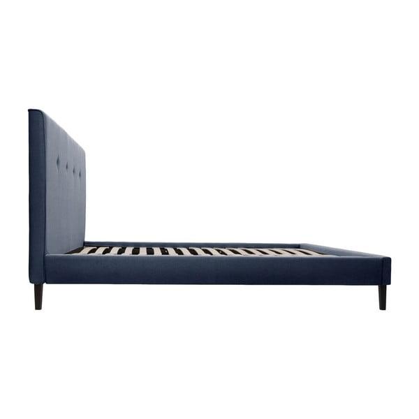 Modrá postel s černými nohami Vivonita Kent,140x200cm