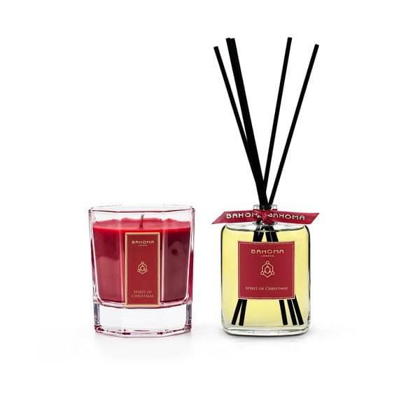 Set lumânări parfumate și difuzor cu aromă de scorțișoară și vanilie, în cutie de cadou Bahoma London