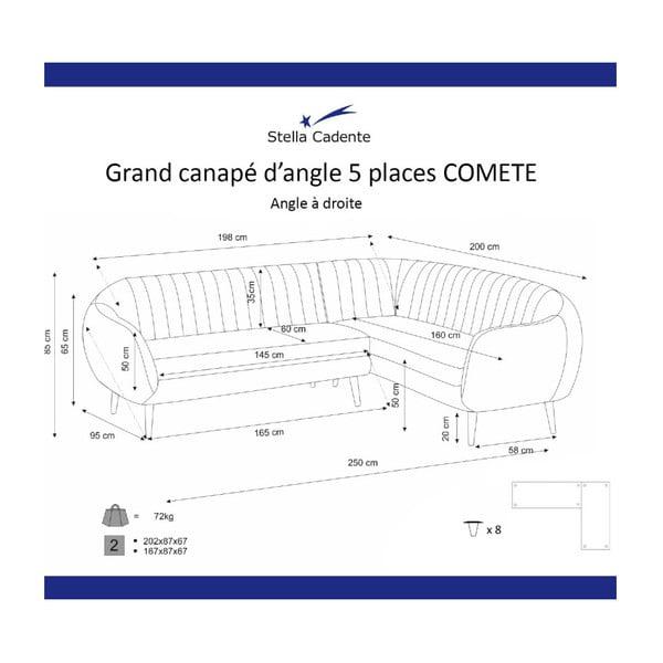 Colțar cu șezlong pe partea dreaptă Scandi by Stella Cadente Maison Comete, turcoaz