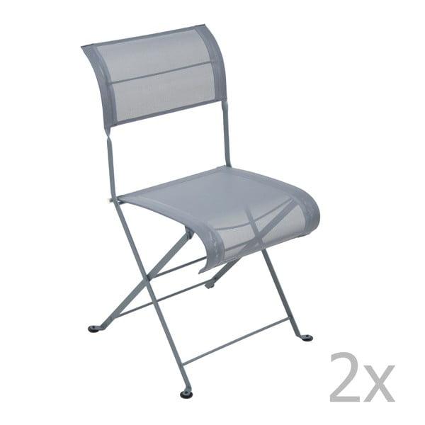 Sada 2 tmavě šedých skládacích židlí Fermob Dune