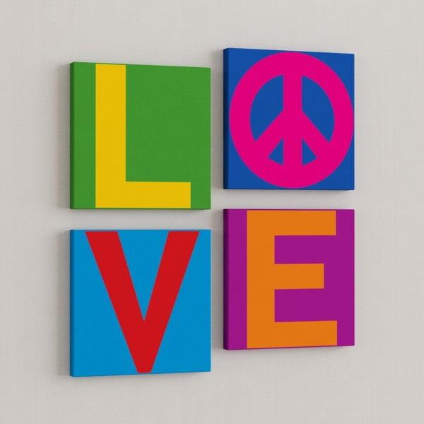 Sada 4 obrazů Láska