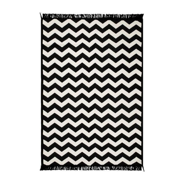 Ziga Zag fekete-fehér kétoldalas szőnyeg, 80 x 150 cm