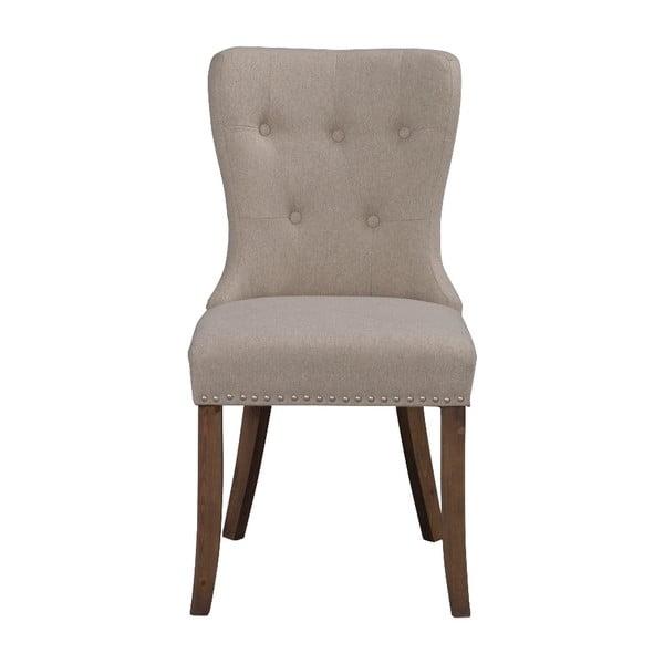 Beżowe krzesło do jadalni z brązowymi nogami Rowico Adele