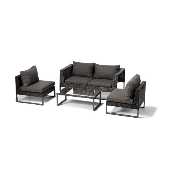 Zahradní set nábytku z umělého ratanu v antracitově šedé barvě Timpana Crystal