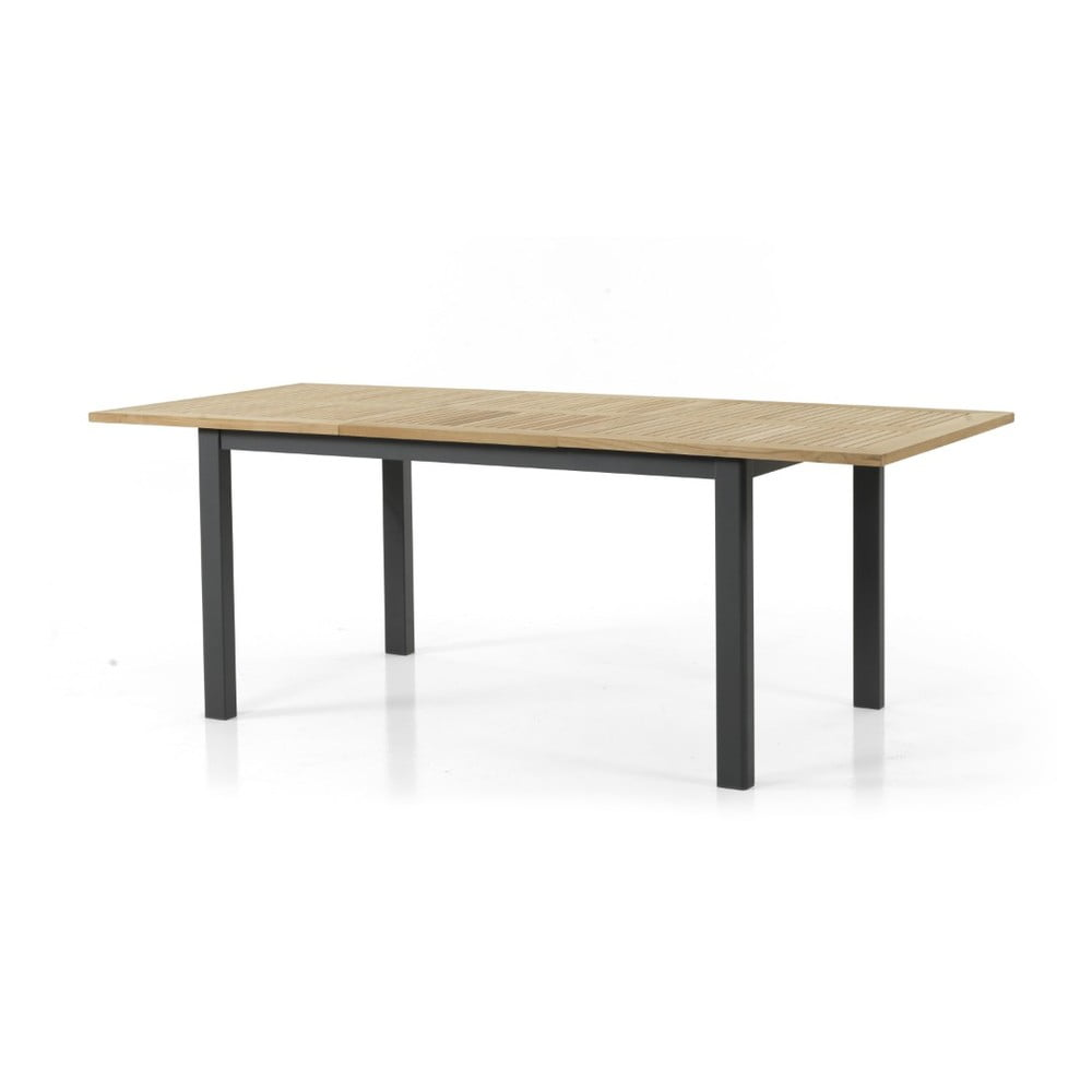 Teakový zahradní stůl s černým podnožím Brafab Lyon, 152 x 92 cm