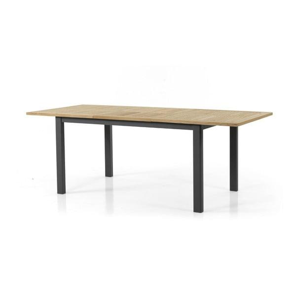 Teakový zahradní stůl s černým podnožím Brafab Lyon, 152x92cm