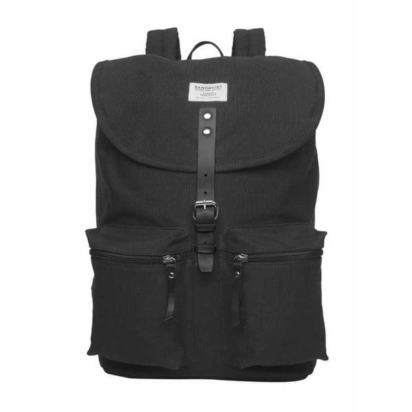 Čierny batoh s koženými detailmi Sandqvist Roald