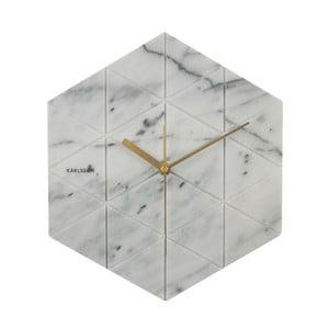 Bílé hodiny Present Time Marble Hexagon