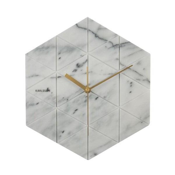 Bílé nástěnné hodiny Karlsson Hexagon