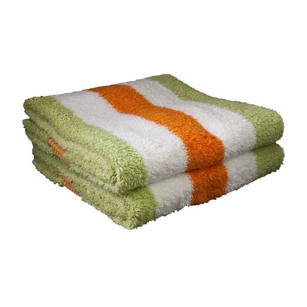 Ručník New York Strips Orange/White/Lime, 50x100 cm