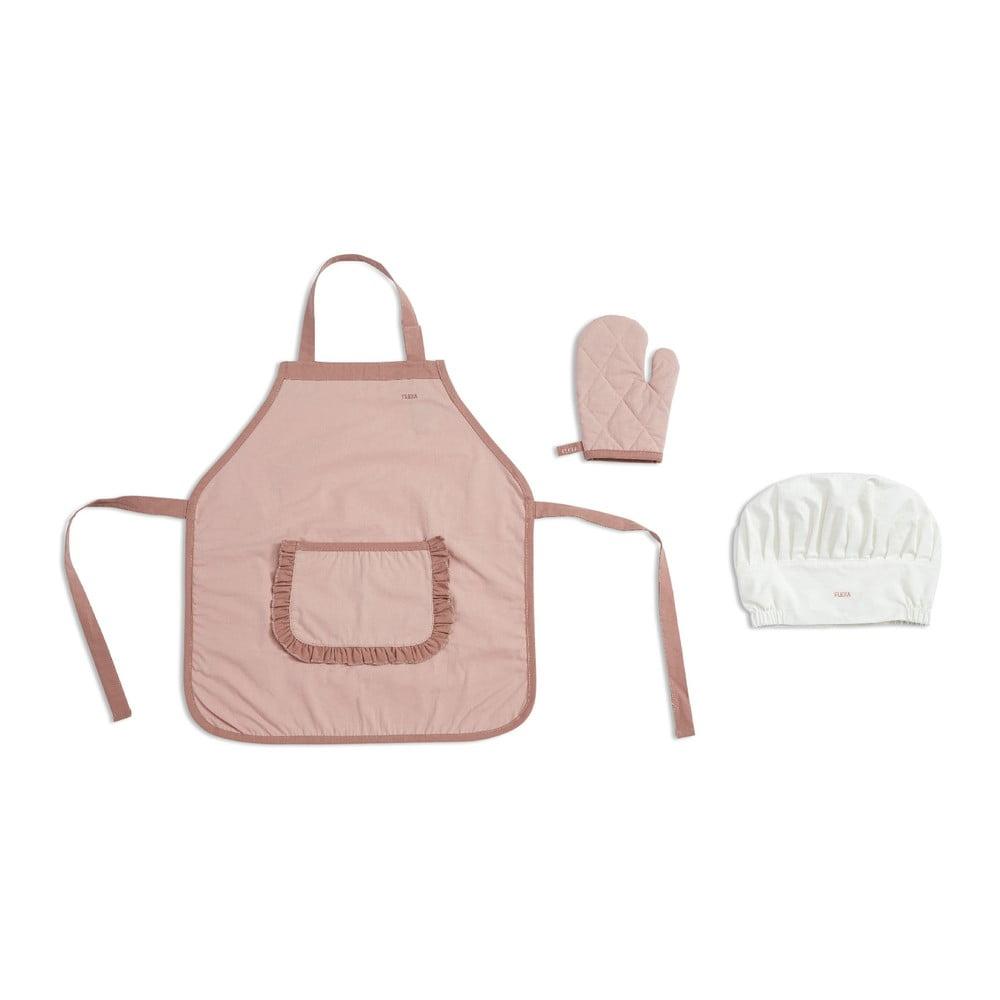 Růžová dětská zástěra s chňapkou a čepicí Flexa Toys Chef´s Costume