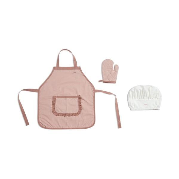 Ružová detská zástera s chňapkou a čapicou Flexa Play Chef´s Costume