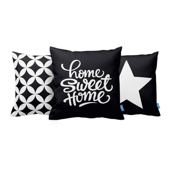 Sada 3 polštářů Home Sweet Home, 43x43 cm