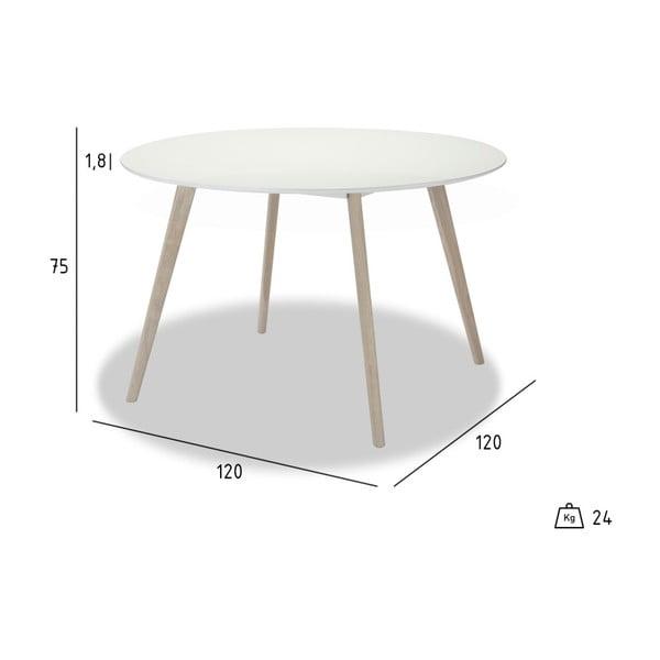 Bílý jídelní stůl s přírodními nohami Furnhouse Life, Ø120cm