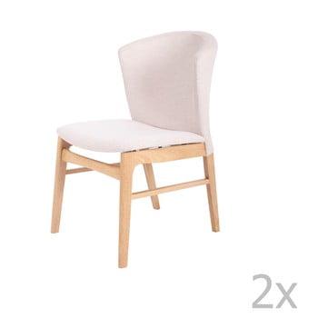 Set 2 scaune cu picioarele maro deschis din lemn de cauciuc sømcasa Mara, alb de la sømcasa