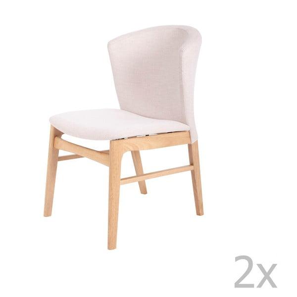 Set 2 scaune cu picioarele maro deschis din lemn de cauciuc sømcasa Mara, alb