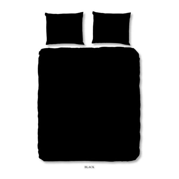 Czarna pościel jednoosobowa z bawełny Muller Textiels Basso Uni, 140x200 cm
