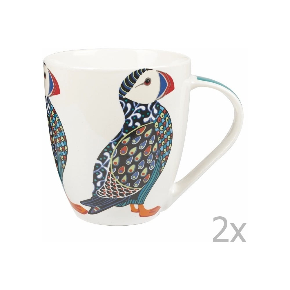 Sada 2 hrnků z porcelánu Churchill China Paradise Puffin 500 ml