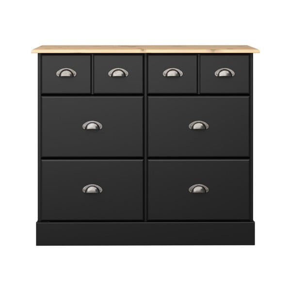 Comodă cu 6 sertare Steens Nola, 78,5 x 91,4 cm, negru