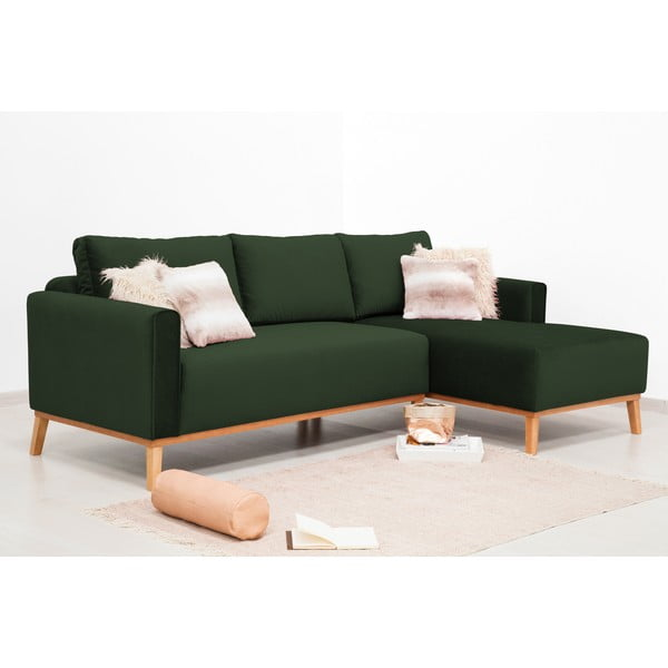 Tmavě zelená 3místná sedačka pravý roh Vivonita Milton Trend
