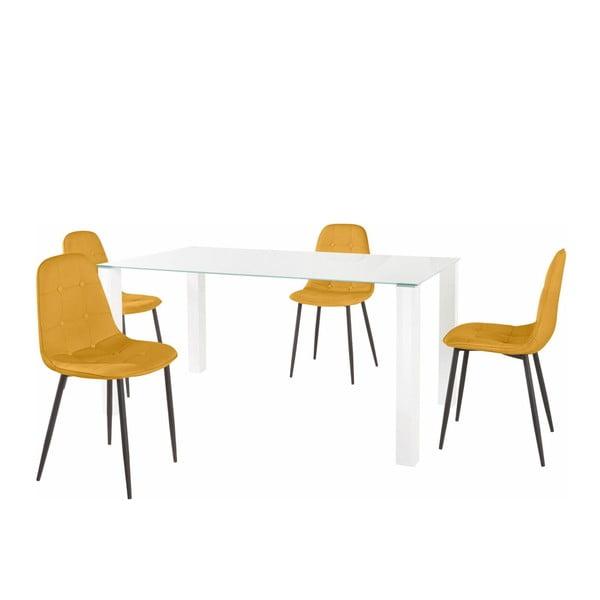 Sada jídelního stolu a 4 žlutých židlí Støraa Dante, délka stolu 160cm