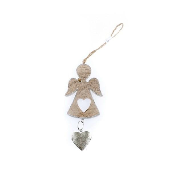 Dřevěný závěsný anděl se srdíčkem ve stříbrné barvě Dakls, výška 7 cm