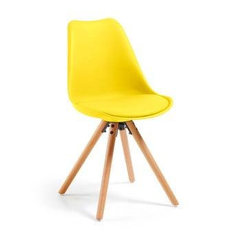 Scaun cu picioare din lemn de fag loomi.design Lumos, galben de la loomi.design