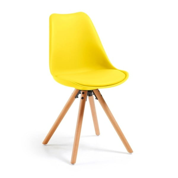 Scaun cu picioare din lemn de fag loomi.design Lumos, galben