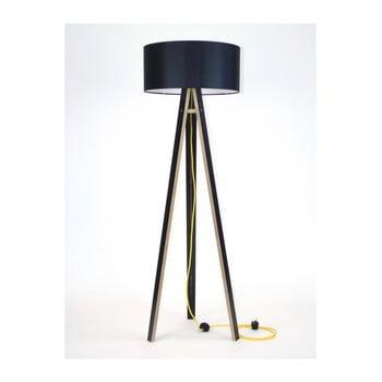 Lampadar galben cu abajur negru și cablu galben Ragaba Wanda imagine