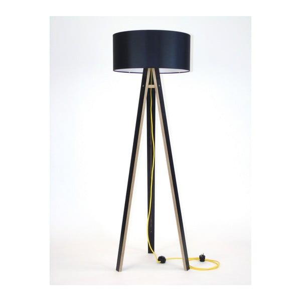 Wanda fekete állólámpa, fekete búrával és sárga kábellel - Ragaba