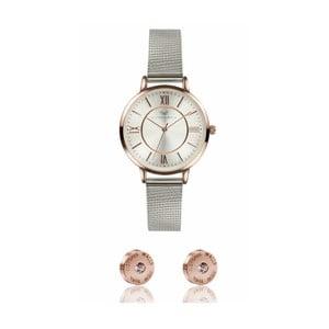 Set dámských hodinek s koženým řemínkem a páru náušnic Victoria Walls Kesso