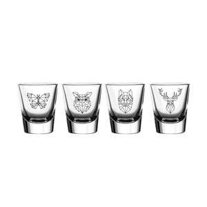 Sada 4 sklenic Vivas Shot Polygonal Animal Figure, 60 ml