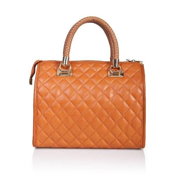 Kožená kabelka Quilted Cognac