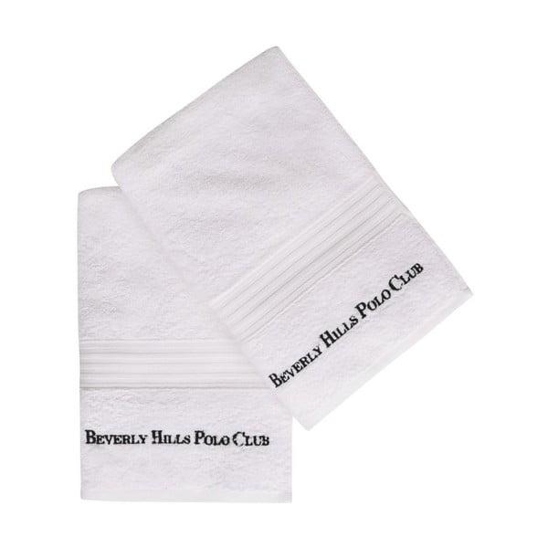 Sada dvou bílých osušek Beverly Hills Polo Club, 137x 71cm