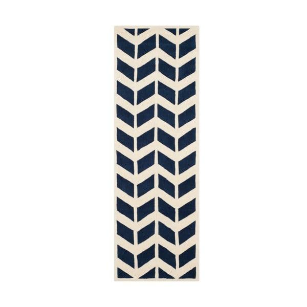 Brenna Navy gyapjúszőnyeg, 213x68 cm - Safavieh