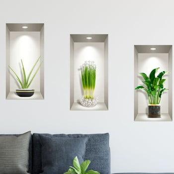 Set 3 autocolante 3D pentru perete Ambiance Plants of the Tropics de la Ambiance