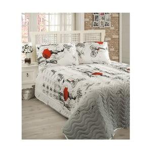 Sada prošívaného přehozu přes postel a polštáře Semspare White, 160x220cm