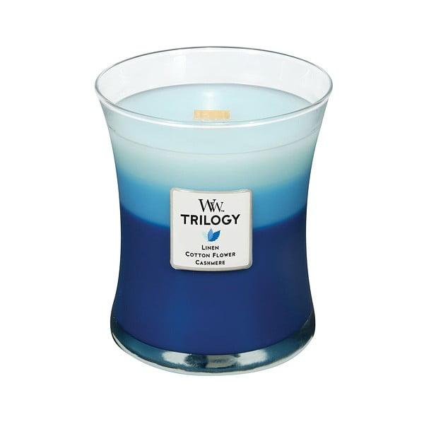 Svíčka s vůní bavlny, květin a kašmíru WoodWick Trilogy Květiny a kašmír, dobahoření60hodin
