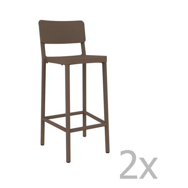 Sada 2 čokoládově hnědých barových židlí vhodných do exteriéru Resol Lisboa, výška 102,2 cm