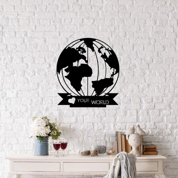 Černá kovová nástěnná dekorace Love Your World, 48 x 55 cm
