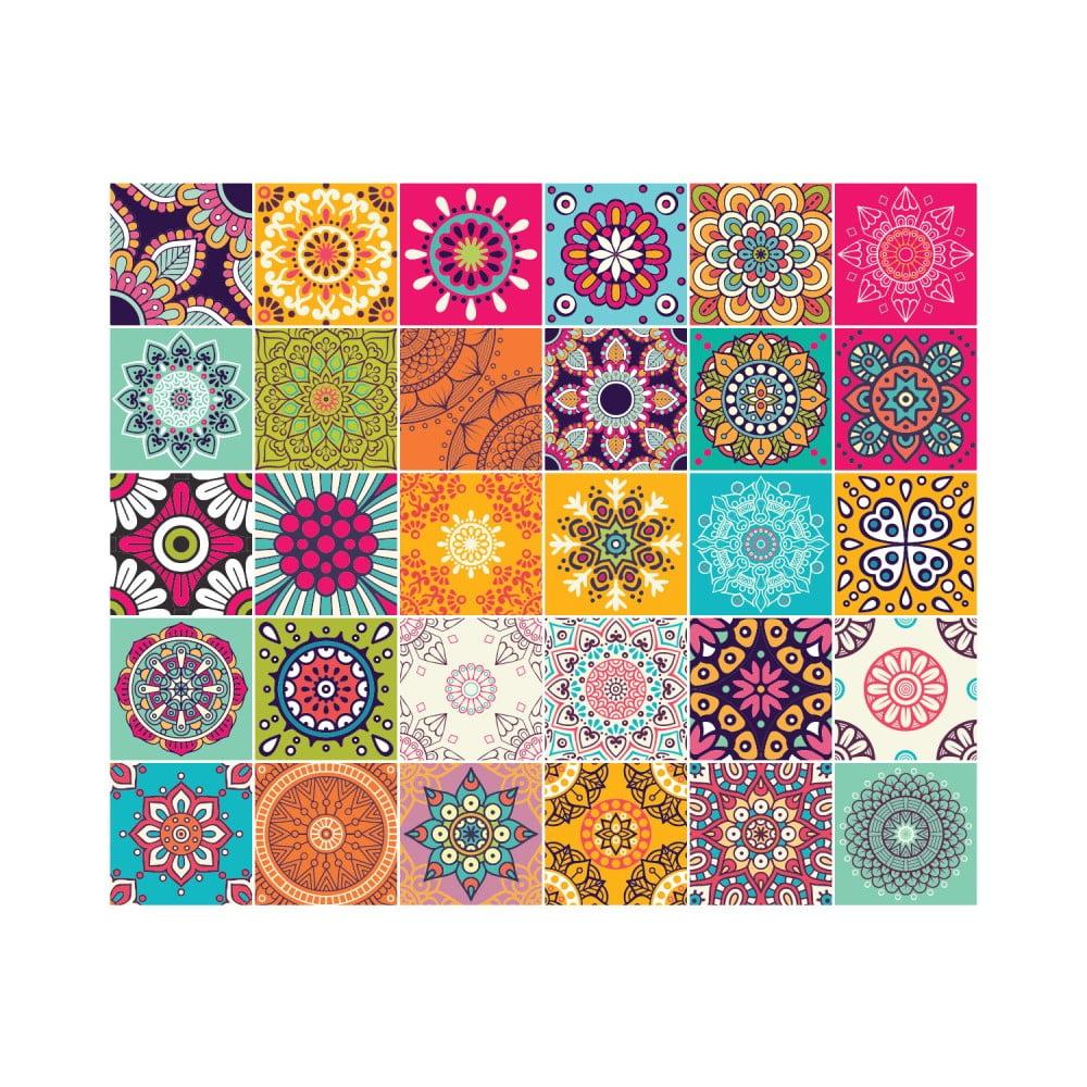 Sada 30 nástěnných samolepek Ambiance Wall Stickers Tiles Azulejos Mariska, 10 x 10 cm
