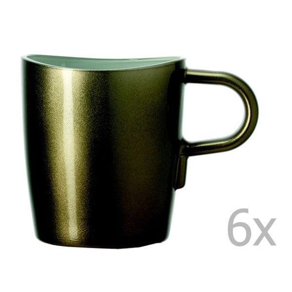 Sada 6 hnědých metalických hrnků na kávu LEONARDO Loop, 260 ml