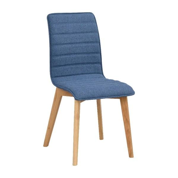 Modrá jedálenská stolička s hnedými nohami Rowico Grace