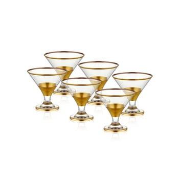 Set 6 pahare pentru cocktail Mia Glam Gold, 225 ml