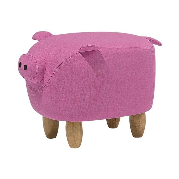 Růžová podnožka ve tvaru prasátka Monobeli Pig, 32x50cm