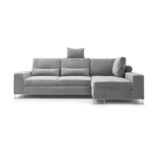 Sivá rozkladacia rohová pohovka so zamatovým poťahom Windsor & Co Sofas Diane, pravý roh