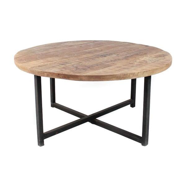 Czarny stolik z blatem z drewna mango LABEL51 Dex, ⌀ 80 cm
