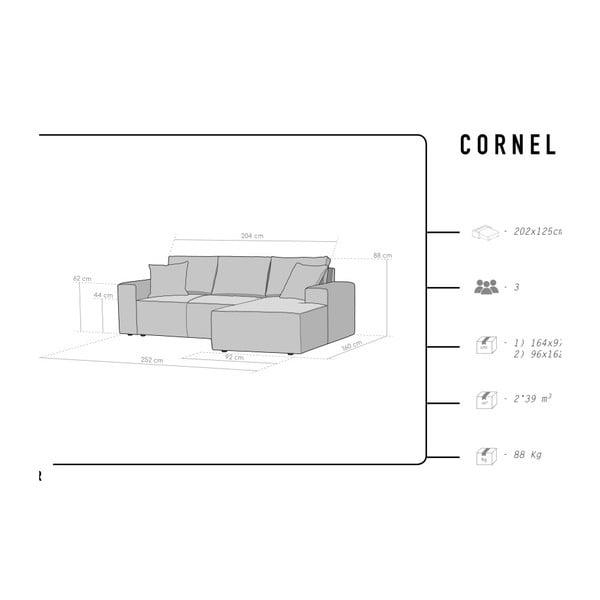 Světle šedá 3místná pohovka HARPER MAISON Cornelia, pravý roh