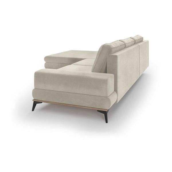 Canapea extensibilă tip colțar cu șezlong pe partea stângă Windsor & Co Sofas Astre, bej