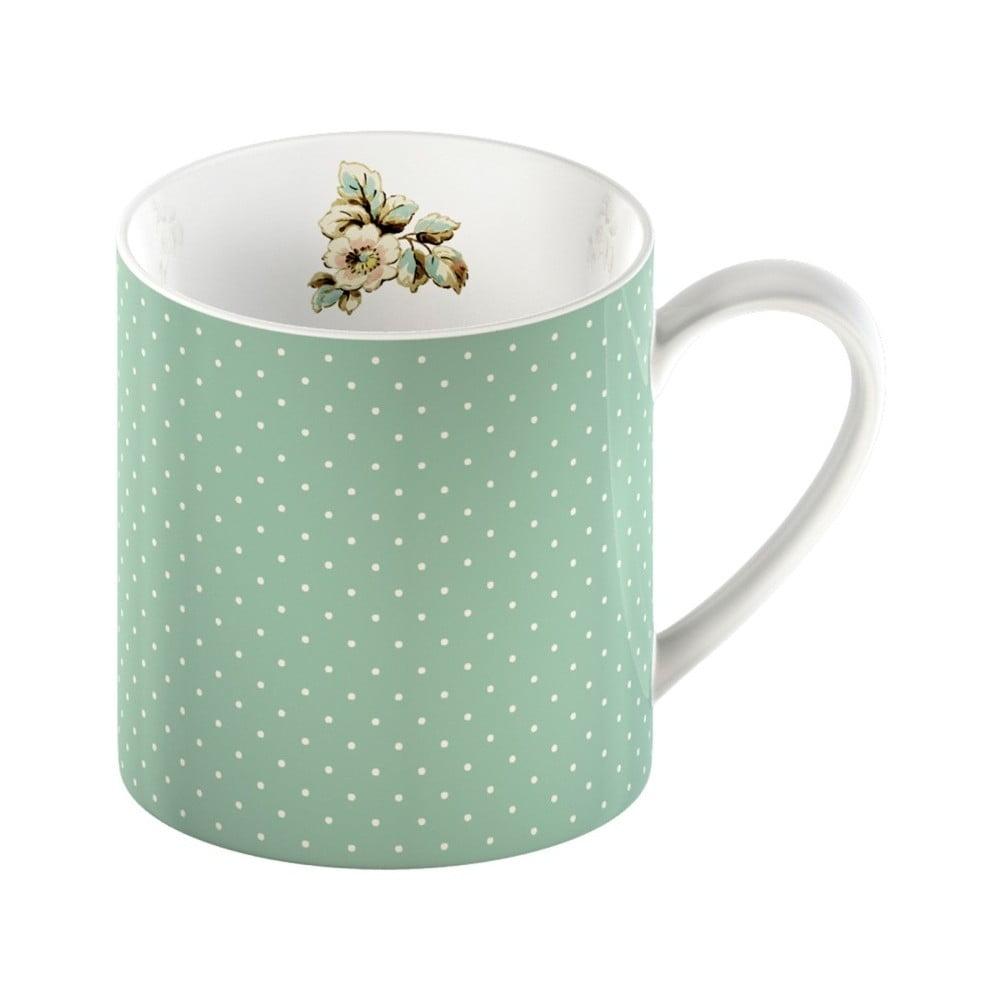 Zelený porcelánový hrnek s puntíky Creative Tops Cottage Flower, 330ml
